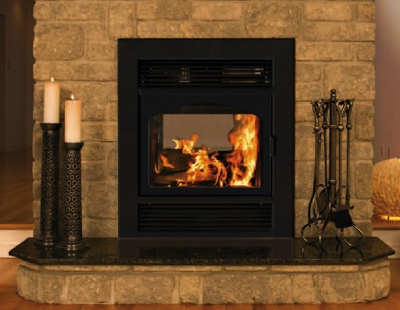 opus black 2 faced see through epa wood fireplace